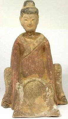 Antiguo Tang Dynasty China Pintado Cerámica Arandela Woman Estatuilla Figura