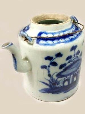 Lg Antique 19thC China Blue + White Ming Style Porcelain Teapot Botanical Motif