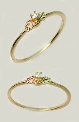 Handcrafted Black Hills 12kt Red Green Gold + Diamond Accent Ring Roman Etruscan
