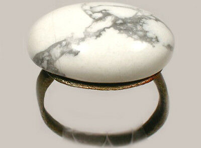 AD300 Roman Pannonia Hungary Bronze Ring + Antique 19thC 10ct Agate Gem Size 4½