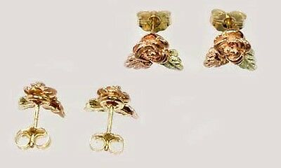 Handcrafted S. Dakota Black Hills 12kt Gold Red Rose Studs Ancient Celts Vikings