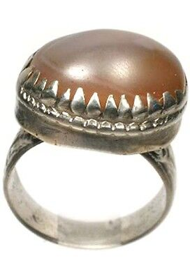 18thC Russian Crimean Tatars Silver Ring Genuine Orange Carnelian Quartz Gem Sz8