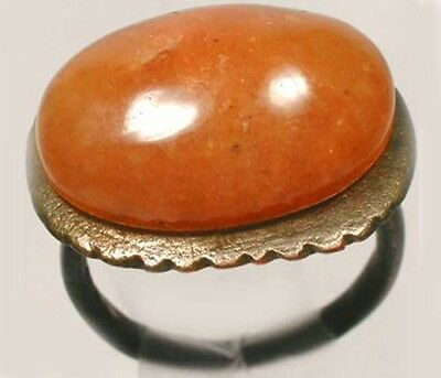 AD300 Ancient Roman Pannonia (Ungarn) Ring Sz5 + Antique19thC 10ct Orange Achat
