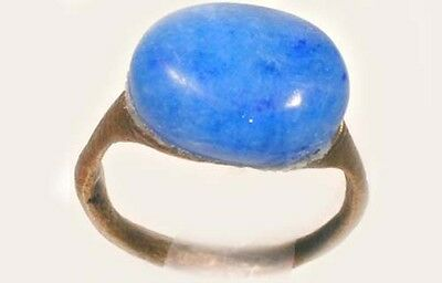AD300 Roman Carthage (Tunisia) Bronze Ring + 19thC Antique 7¼ct Blue Agate Sz8¾