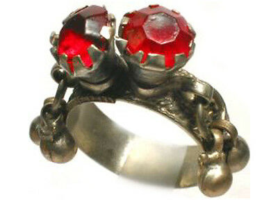 18thC Russian Ukraine Crimea Tatar Silver Two Ruby Red Glass Gem Ring Bells Sz11