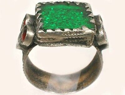 Antique 18thC Crimean Tatars Intricate Silver Ring Foil Back Glass Gems Size 8½