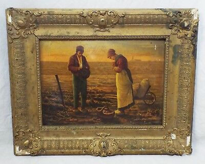 Old Antique Small OIL PAINTING ON TIN Farmer & Wife PAINTING Framed Hand Painted