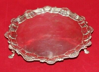 "ANTIQUE Richard Rugg Georgian Sterling Silver Footed Salver 8"" Diameter, 305g EX"