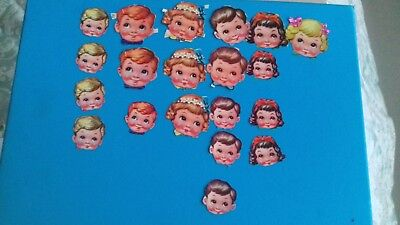 ORIGINAL OLD Vintage scrap used  1950s /1960s CHILDRENS HEADS   2 SIZES