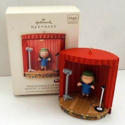 """Hallmark 2007 Peanuts Magic Sound & Light Ornament """"What Christmas is All About"""""""