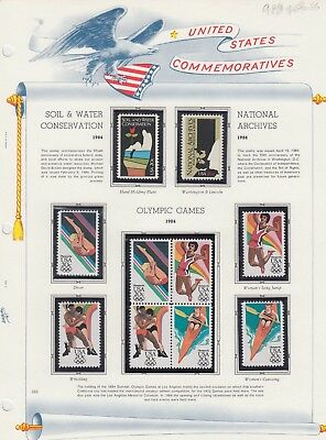 Usa 9 Color Album Pages Collection Lot Olympic Air Mail Sound Mint Never Hinged