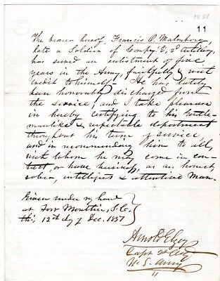 1857, Confederate Major General Arnold Elzy, shot in the head, letter signed