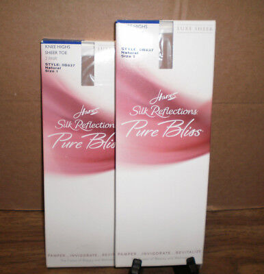 New Women's Hanes 4 Pairs Silk Reflections  Pure Bliss Sheer Toe Knee Highs Sz 1