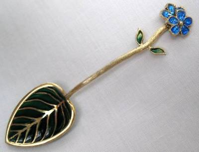 Swedish? Gilded Sterling Silver Plique A Jour Enamel In The Bowl Salt Spoon