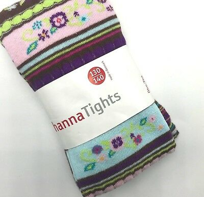 NWT Hanna Andersson Tights 130 140 Pink Purple Floral Cotton US Size 8 10 12