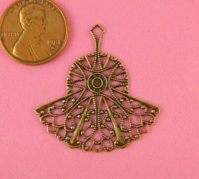 Vintage Design Ant Brass Filigree Fan Shape - 1 Pc