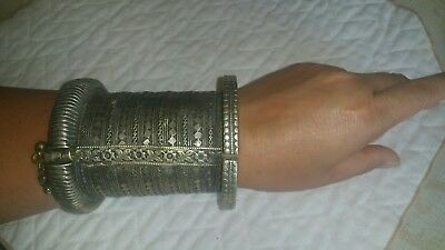 Old Chic rare Sexy antique hot Uzbek Medieval Gothic Bracelet  Silver roman nice