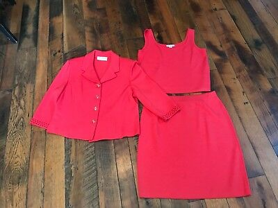 ST JOHN by Marie Gary Collection Knit 3 Piece Skirt Suit Size 12, M