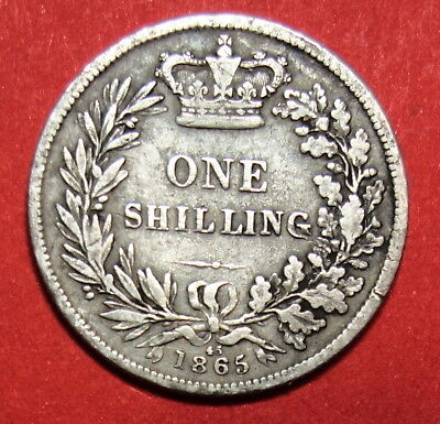 Great Britain : Shilling 1865 . 0.925  Silver. Die No 45. Queen Victoria