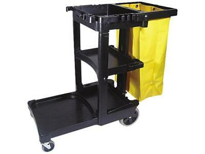 Rubbermaid Commercial 617388BK Multi-Shelf Cleaning Cart, 3-Shelf, 20w x 45d x 3