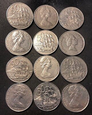 Old New Zealand Coin Lot - 50 CENTS - 12 Large Ships Coins - Lot #913