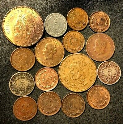 Old Mexico Coin Lot - 1911-1959 - 16 Great Vintage Coins - Lot #913