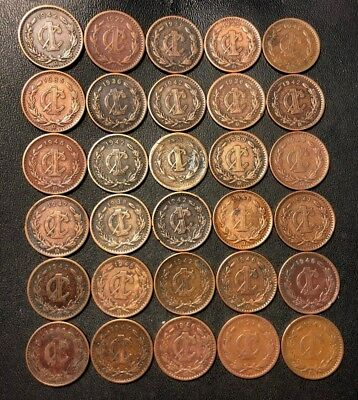 Old Mexico Coin Lot - 1903-1948 - 30 Older Type Centavo Coins - Lot #913