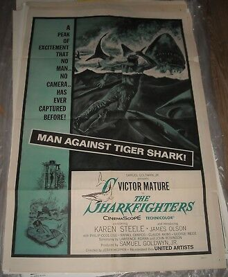 1956 The SHARKFIGHTERS 1 SHEET MOVIE POSTER VICTOR MATURE KAREN STEELE ACTION