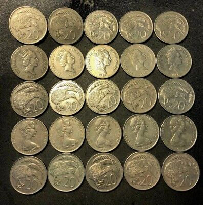Old New Zealand Coin Lot - 20 CENTS - 25 Large Kiwi Coins - Lot #913