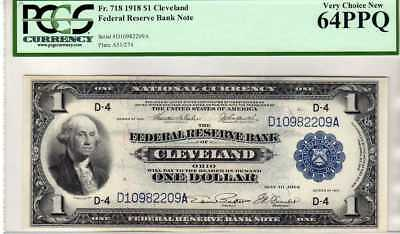 Fr.718 $1 1918 CLEVELAND FEDERAL RESERVE BANK NOTE PCGS 64 PPQ
