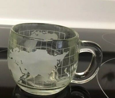 Vintage 1970s NESTLE Nescafe Glass World Globe Map Coffee Cup Mug