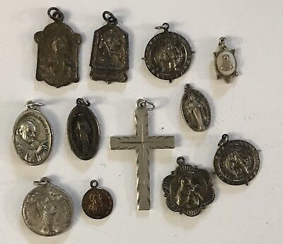 Lot of 12 Antique Catholic Religious Medals Sterling Brass From Year 1880 Up