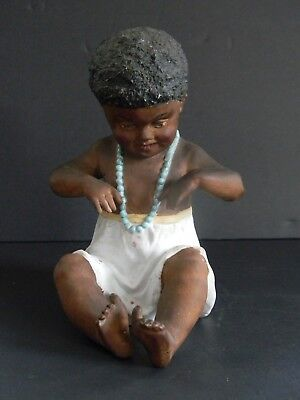 Antique Bisque Porcelain Black African American Baby Doll In Diapers