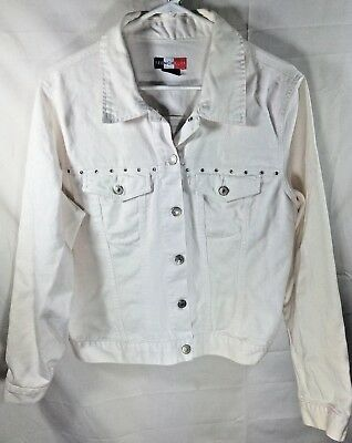1990s Vintage FRENCH KUFF White Denim Rhinestone Bejeweled JACKET SIZE:LARGE