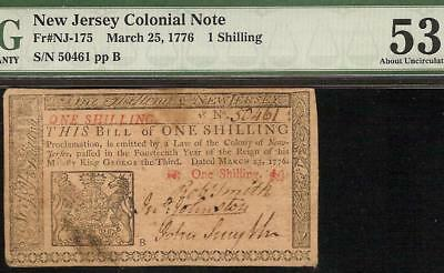 March 25, 1776 New Jersey Colonial Currency Note Paper Money Nj-175 Pmg Au 53