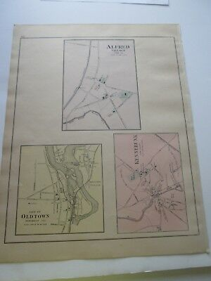 1894-1895 Antique Map, Stuart's Maine Atlas,   Alfred, Old Town, Kennebunk