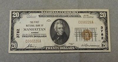 Series Of 1929 $20 National Currency First National Bank Of Manhattan Ks #3782
