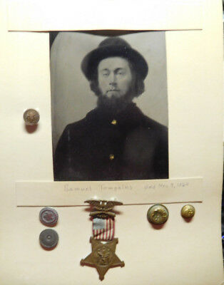 Civil War Tin Type Photo, Medal, Bottons, Samuel Tompkins, 11th N.Y. Cavalry