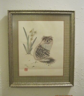 Chinese Hand Embroidered Fine Silk Framed Picture - Gray Tabby Cat