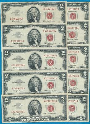 10-$2.00 1963+63-A Series Legal Tender  Red Seals  Attractive  Dealers Lot