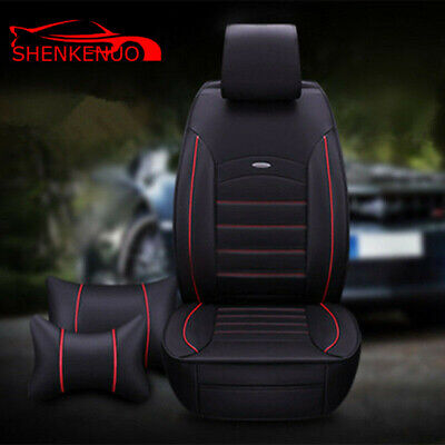 Seasons PU Leather Car Seat Cover Rear Front 5 Seats with Pillow || Black