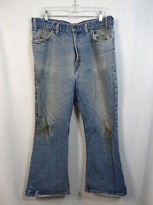 Vtg Denim Jeans Distressed Levis Pockets Holes Paint AS IS Work Stains Hippy