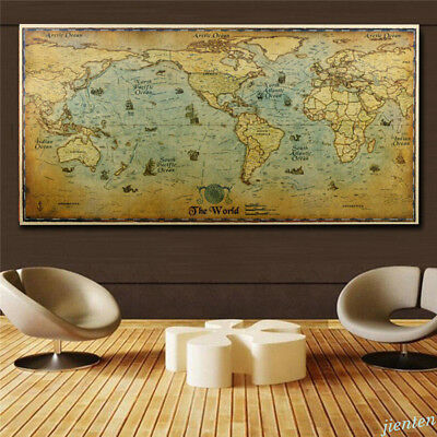 Vintage Vellum Map Chart Poste Kraft Paper Home Decor Detailed Poster Wall Chart