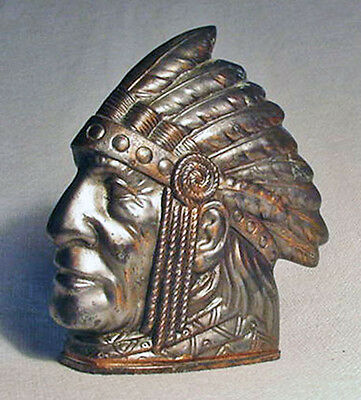 Indian with Headress Lead Coin Bank/Made in Japan/Nice Condition