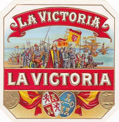 La Victoria Original Vintage Outer Cigar Box Label Columbus With Men & Ships
