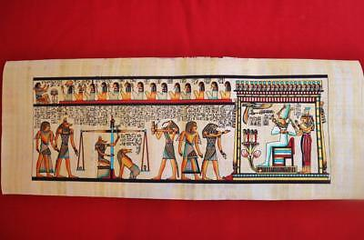 """Huge Signed Handmade Papyrus Egyptian Judgment Day Art Painting...32""""x12"""" Inches"""