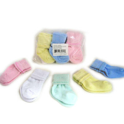 12 PAIR Infant Baby 0-6 month Socks Girls & Boys Pink, Blue, White, Yellow Green