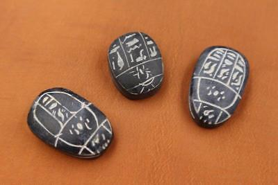 Rare Set of 3 Stone Ancient Egyptian Lucky Scarab beetle, Amulets & Plaques