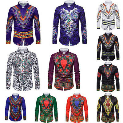 Men African Tribal Shirt Dashiki Print Succinct Hippie Top Blouse Clothing