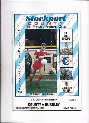 Stockport County V Burnley 22/11/1989 Fa Cup 1St Round Replay (5)